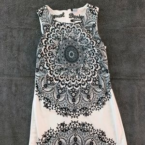 Desigual Alexa White Black Shift Dress Women's 38